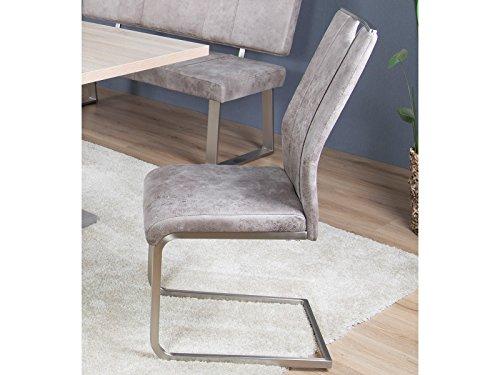 möbelando Schwingstuhl Esszimmerstuhl Schwinger Küchenstuhl Stuhl Jerald I (4-er Set) Vintage-hell