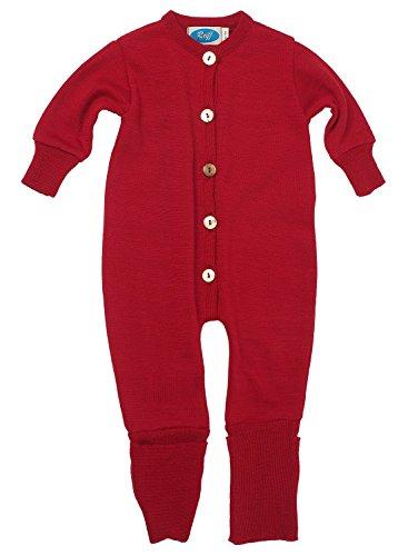 Reiff Baby Overall/Schlafanzug Frottee, 70% Merino-Schurwolle kbT. / 30% Seide (86/92, burgund)