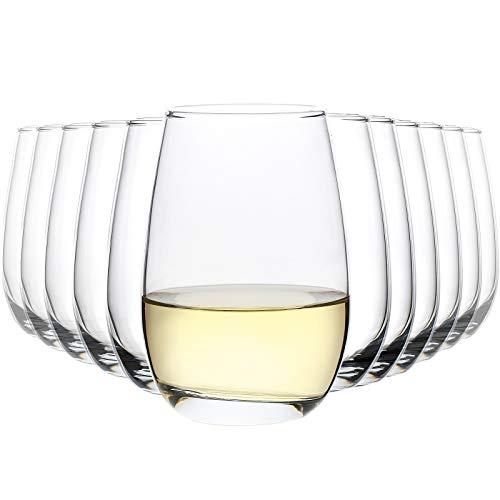 CREST 12 er Set Weingläser ohne Stiel, 410 ml, Klassische stiellose Weingläser, Kristall Wine Tumbler für Rotwein und Weißwein