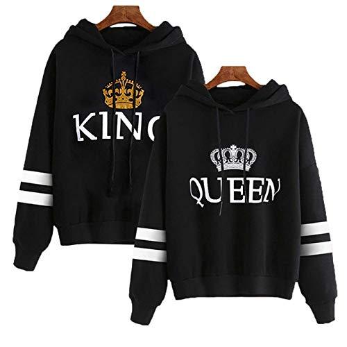 Queque Shine Coppie Felpa con Cappuccio King&Queen Corona Stampa Felpe Pullover Uomo e Donna (Nero, King L+Queen L)