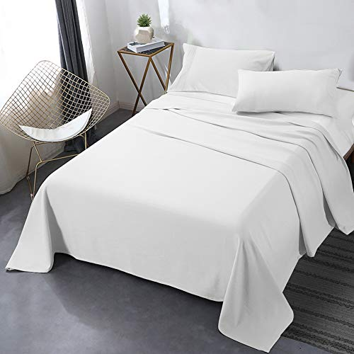 "Secura Everyday Luxury Full Bed Sheet Set 4 Piece - Soft Microfiber 1800 Thread Count 16"" Deep Pocket Sheet Sets - Hypoallergenic, Wrinkle & Fade Resistant (White)"