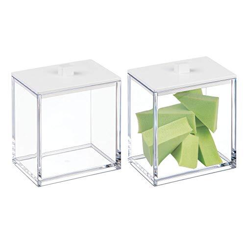 mDesign boite a coton et distributeur de coton tige (lot de 2) – boite de rangement avec couvercle – accessoire de salle de bain en plastique pour produits cosmétiques – transparent/blanc mat