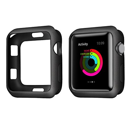 SMEECO Compatible with iWatch Case 42mm Soft Flexible Dirt-Resistant TPU Lightweight Protective Protector for iWatch Series 3,Series 2,Series 1,Nike+ Edition Sport (42mm,Black)