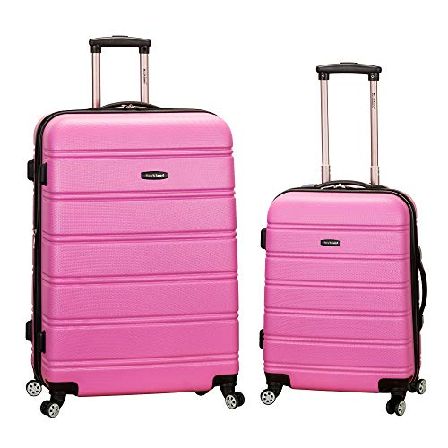 Rockland Melbourne Hardside Expandable Spinner Wheel Luggage, Pink, 2-Piece Set (20/28)