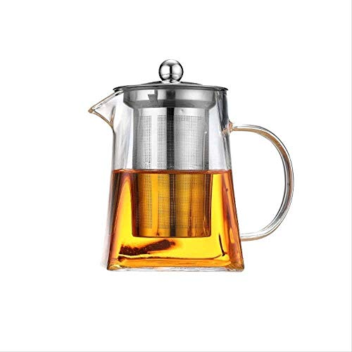 Glass with Stainless Steel Infuser Oolong Black Heated Container Tea Pot Good Clear Kettle Square Filter Baskets 1yess Heat Resistant/Commodity Code: ZHJ-4