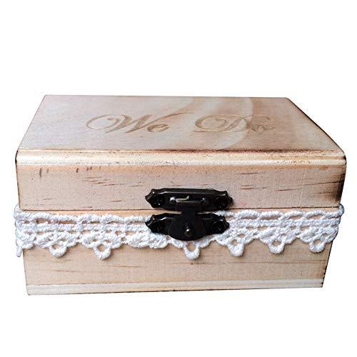 HESHIFENG. Cojín para anillos de boda de party & accessories, cojín de matrimonio para soporte de anillos, de madera, para anillos de boda (caja de madera para anillos), estándar, We DO