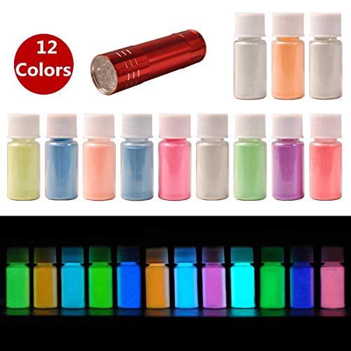 Glow in the Dark Pigmentpulver mit UV-Lampe, DeWEL 12 Farben Neonfarbe Fluoreszierendes Pulver Epoxidharz Leuchtpulver für Schleim, Nägel, Harz, Farbe, Konzerte oder DIY-Projekte, 20 g/Flasche