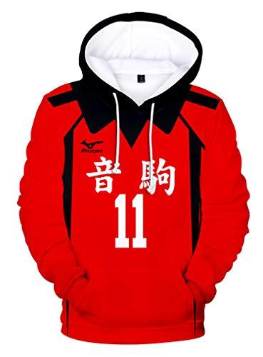 Piccodos Sweat Unisexe Hoody Homme Femme Hoodie Anime imprimé 3D Sweat à Capuche Nekoma High School Lev Haiba No.11 Cosplay Costume Rouge M (Chest 104cm)