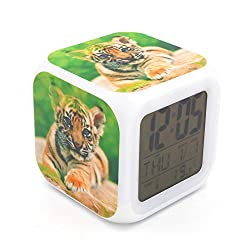 EGS New Tiger Animal Digital Alarm Clock Desk Table Led Alarm Clock Creative Personalized Multifunctional Battery Alarm Clock Special Toy Gift for Unisex Kids Adults