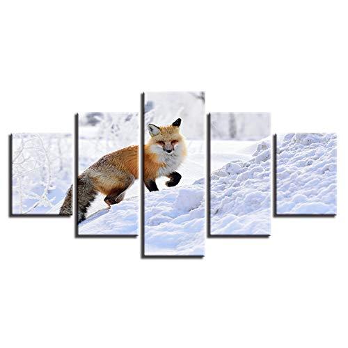 KGKBH 5 Fotos Gemälde auf Leinwand, moderne Kunst, Wanddekoration in Leben, 5 Paneele, Fuchs, Tiere spielen mit Schnee, Schild, Modular