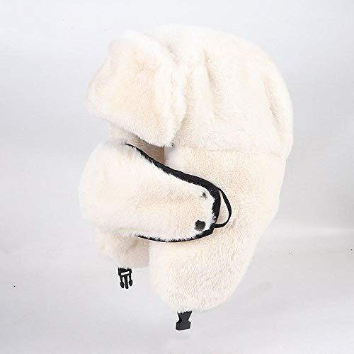 AIMICONG Russen Mütze Ushanka Winter Kunstpelzmütze Frauen Bomber Hüte Outdoor Warm Pink Ski Ohrenklappen Sowjetischer Hut Russische Schneekappe Weiß