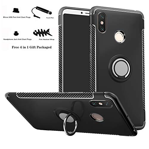 Labanema Xiaomi Max 3 Hülle, Ring Kickstand 360 Grad rotierenden Fingerring Grip Drop Schutz Stoßdämpfung Weichen TPU Cover für Xiaomi Mi Max 3 - Schwarz