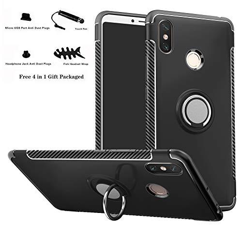 Labanema Xiaomi MAX 3 Funda, 360 Rotating Ring Grip Stand Holder Capa TPU + PC Shockproof Anti-rasguños teléfono Caso protección Cáscara Cover para Xiaomi Mi MAX 3 - Negro