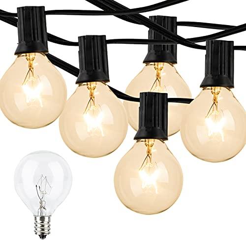 100Feet Outdoor Patio String Lights, Lightdot G40 Globe String Lights 2700K with 52 Edison Glass Bulbs(2 Spare), Waterproof Backyard Hanging Light for Balcony Party Wedding, Halloween Decoration
