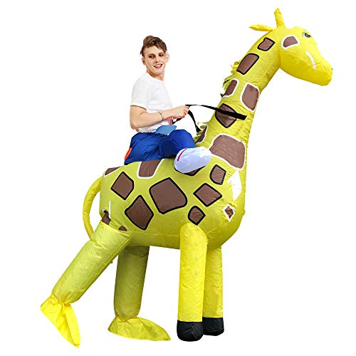 rushopn Ride on Giraffe Inflatable Costume Halloween Christmas Carry Me Costume for Adult/Child Adult