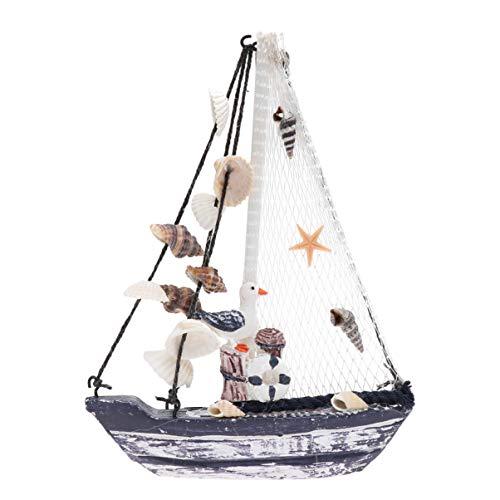 SUPVOX Concha Marina Barco de Vela Modelo de Barco Mini Antiguo Barco de Vela de Madera Estilo mediterráneo Adornos para Barcos de Vela decoración de la casa Regalo Artesanal Concha (14,3 x 20 cm)