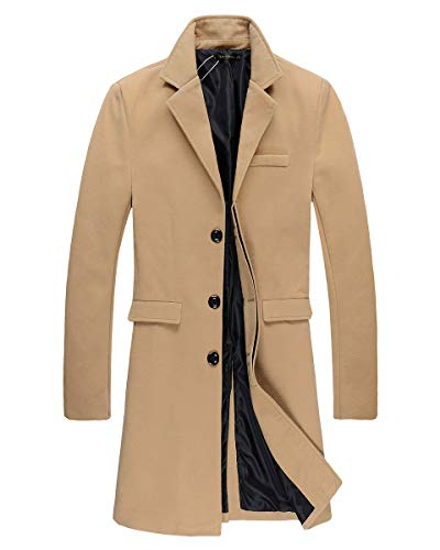 Beninos Mens Trench Coat Autumn Winter Long Jacket Overcoat (DY01 Camel, XL)