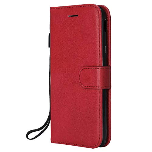 DENDICO Cover Galaxy J3 2017, Premium Portafoglio PU Custodia in Pelle, Flip Libro TPU Bumper Caso per Samsung Galaxy J3 2017 - Rosso