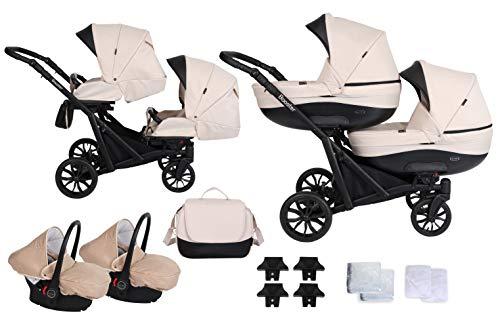 Booster Kinderwagen Zwillingswagen Geschwisterwagen by Lux4kids Cream 3in1 mit Babyschale