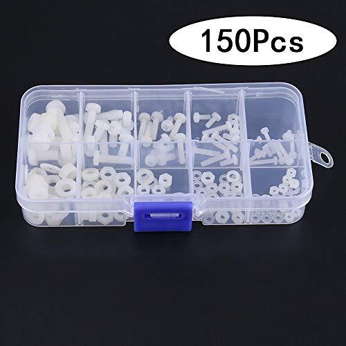 Tuercas Hexagonales de Nylon, Juego de Tornillos de Nylon, 150 Piezas de Tornillos y Tuercas de Plástico de Nylon, con Caja de Plástico, para la Industria Doméstica, Máquinas Herramientas, Bricolaje