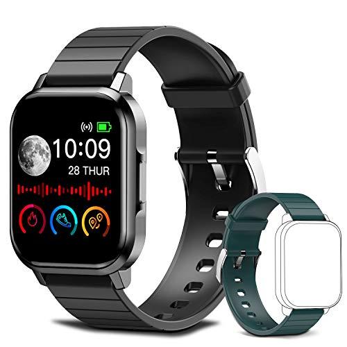 Smartwatch, Reloj Inteligente Mujer Hombre Niños Pulsera, Pulsera de Actividad Inteligente con Contador de Caloría Monitoreo Pulsómetros + Pulseras de Repuesto, para Android iOS (Negro)