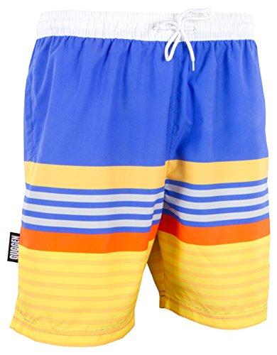 GUGGEN Mountain Badehose für Herren Schnelltrocknende Badeshorts 596 mit Kordelzug Beachshorts Boardshorts Schwimmhose Männer mit Muster Blau Gelb XL