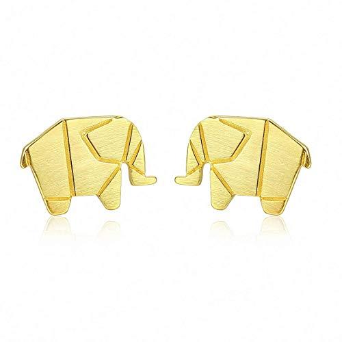 WYRKYP Pendientes S925 Pendientes de Ley Simple Y Elegante Animal Pequeño Lindo Elefante Bebé Pendientes de Botón Personalidad Temperamento Joyería Regalo para Mujeres,Oro