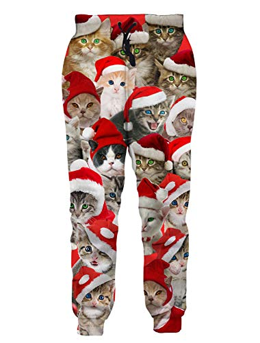 RAISEVERN Men Women Sweatpants All Christmas Cat Funny Festival Joggers Pants Xmas Party Jogging Trousers Sportswear with Drawstring Brown Red