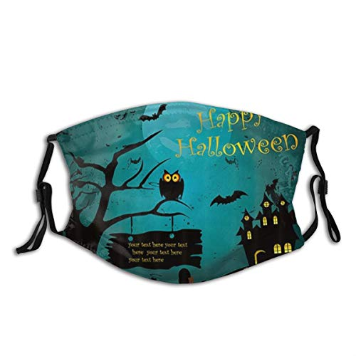 KOSALAER Face Cover Happy Halloween Kürbis Gothic Horrible Black Castle In der dunklen Nacht Wiederverwendbare Anti-Staub-Mund-Bandanas mit 2 Filtern