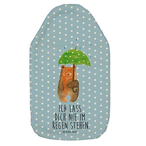 Mr. & Mrs. Panda Körnerkissen, Wärmekissen, Wärmflasche Bär mit Regenschirm mit Spruch - Farbe Blau Pastell