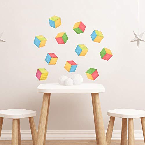 hsowe Etiqueta Engomada Colorida De La Pared del Bosquejo del Cubo De Rubik Decoración Linda De La Habitación De Los Niños Decoración De La Pared del Club del Cubo De Rubik