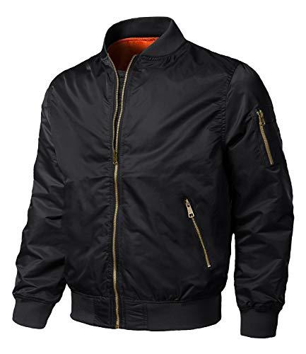 EKLENTSON Uomo Flieger Jacket Giacca da volo di Transizione Outdoor Casual con Tasche, Nero