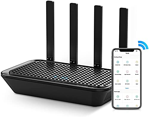 rockspace 2100Mbps Wi-Fi Router Dual Band - AC2100 MU-MIMO Wireless Gaming Router 5Ghz & 2.4Ghz, Beamforming 4 Gigabit Ports, Supports Parental Control, Guest Wi-Fi, WPS Setup, IPTV, UK Plug (Black)