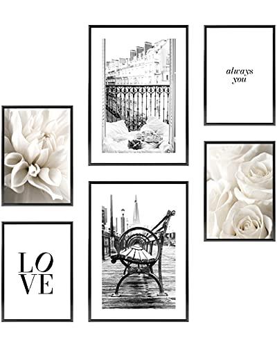 Heimlich Set di Stampe da Parete - Senza Cornici - Decorazioni da Muro per Soggiorno, Camera da Letto e Cucina - Poster Abbinati - 2 x A3 & 4 x A4-30x42 & 21x30 | » Paris Love Fashion «