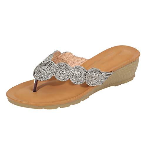 KERULA Sandalen Keilabsatz Damen, Fashion Hausschuhe Gestrickte Spulenkeile Flip-Flop-Komfort Pumps Damenschuhe Shoes Strandschuhe Schuhe Sandaletten Freizeitschuhe