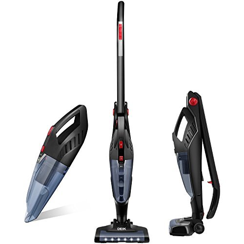 Deik Vacuum Cleaner, 2 in 1 Cordless Vacuum Cleaner, High-power Long-lasting 22.2V 2200mAh Li-ion Battery Powered Rechargeable Bagless Stick and Handheld Vacuum with Upright Charging Base