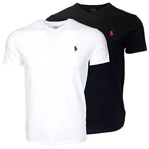 Polo Ralph Lauren Men's V-Neck T-shirt Bundle (2pk) (Small, White/Black)
