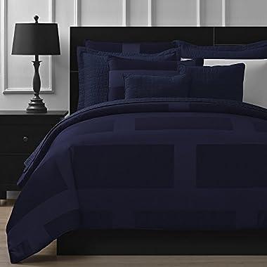 Comfy Bedding Frame Jacquard Microfiber Queen 5-piece Comforter Set, Navy Blue