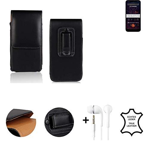 K-S-Trade® Leder Gürtel Tasche + Kopfhörer Für Allview Soul X5 Mini Seitentasche Belt Pouch Holster Handy-Hülle Gürteltasche Schutz-Hülle Etui Schwarz 1x