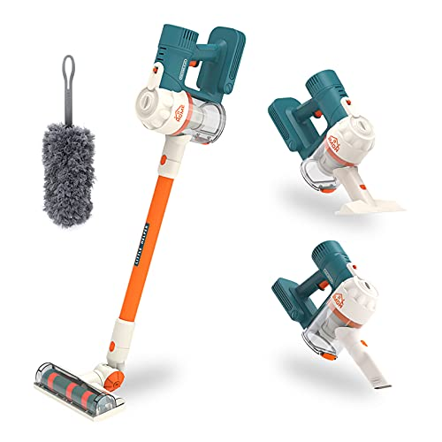THYG Kids Vacuum Cleaner for Toddlers, Cordless Vacuum Toy Housekeeping Cleaning Set Includes 3 Different Nozzle, Duster, 2 Spray Bottle, Pretend Play Household Cleaning Tools for Boys Girls