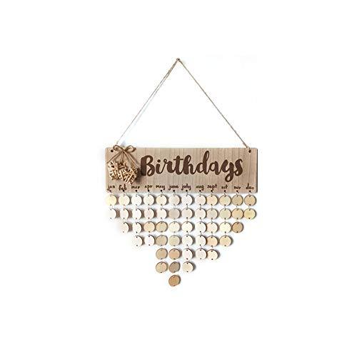 cheerfulus Calendrier en bois à faire soi-même, plaque d'anniversaire pour famille, amis, calendrier à suspendre, cadeau pour décoration de la maison