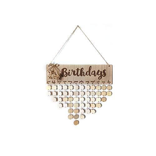 cheerfulus DIY legno calendario, Family Birthday Plaque Friends promemoria calendario da appendere Gift for home Decoration Round 3