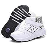HaoLin Patines de Ruedas Multiusos Zapatos con Ruedas Multifuncionales de Una Sola Rueda Zapatillas de Deporte Botón Invisible Automáticamente,White-41 EU