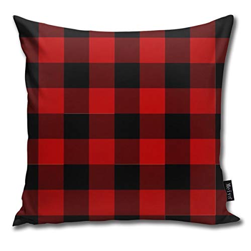 QMS CONTRACTING LIMITED Throw Pillow Cover Red and Black Buffalo Plaid Check Decorative Pillow Case Home Decor Square 18x18 Inches Pillowcase