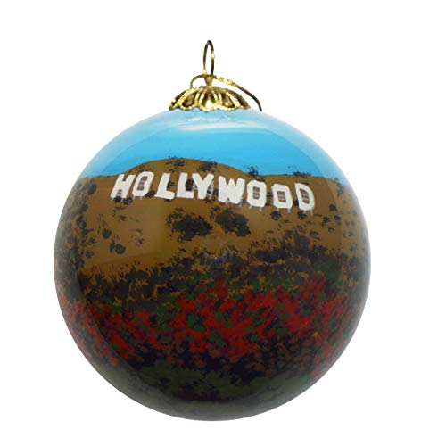 Art Studio Company Hand Painted Glass Christmas Ornament - Hollywood Sign