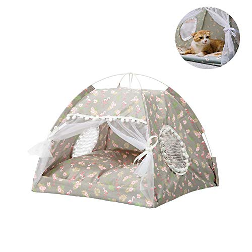 MZ Pet Teepee House,Tented cat nest,Waterproof Pet bed,Microfiber Indoor Removable Washable Cushioned Pillow,for cat dog.13.7 * 15.7 * 16.9in