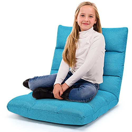 Giantex Floor Sofa Chair Video Gaming Chair with 14 Adjustable Position, Padded Back Support Floor Cushioned Seat, Folding Lazy Chair for Meditation, Reading, Watching, Living Room Recliner(Turquoise)