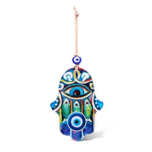 MYSTIC JEWELS - Adorno de Pared en Forma de Hamsa (Mano de Fátima) de Cristal para Llevar Salud y éxito a casa (Color 2)