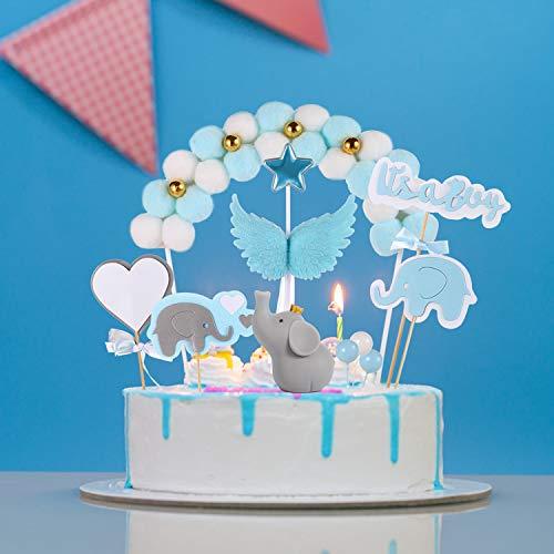 Haosell 10 Stück Kuchendeko Baby Shower Blau Tortendeko Junge Babyparty Kuchen Topper It's a Boy Kuchen Topper Elefante Kuchen Zubehör Tortendekoration Baby Taufe