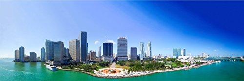 Miami Skyline City Meer XXL Panorama Wandtattoo Bild Poster Aufkleber W0068 Größe 200 cm x 66 cm